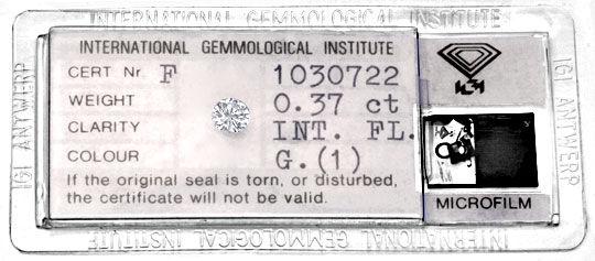 Foto 1, Diamant 0,37 Brillant IGI Lupenrein Topwesselton Juwel!, D5882