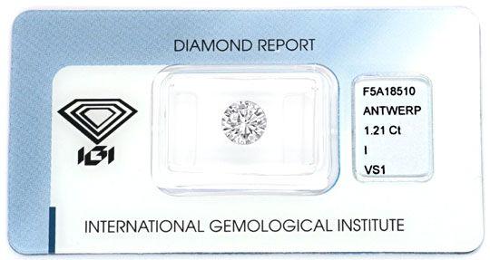 Foto 1, Einkaräter 1,21Carat Brillant VS1 IGI-Gutachten Diamond, D5885