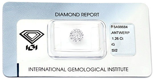 Foto 1, Diamant 1,26 Carat, Brilliant IGI Top Wesselton Diamond, D5887