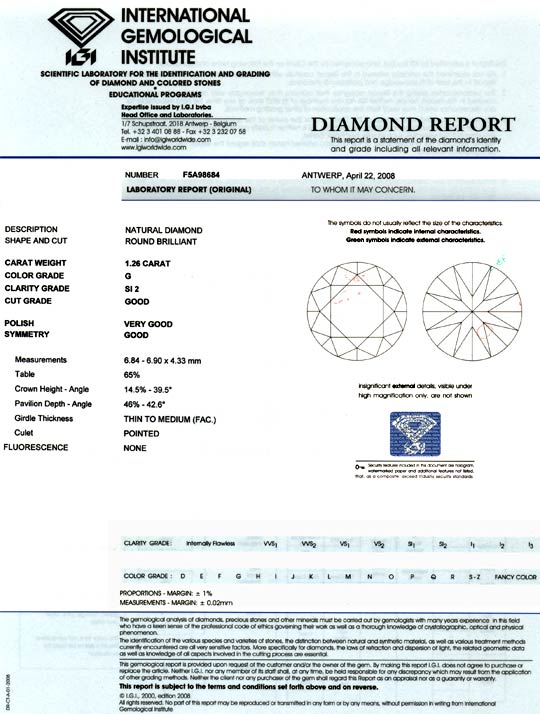 Foto 9, Diamant 1,26 Carat, Brilliant IGI Top Wesselton Diamond, D5887