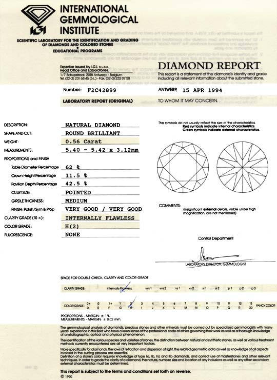 Foto 9, Diamant 0,56ct Brillant IGI Lupenrein Weiss VGVG Juwel!, D5891