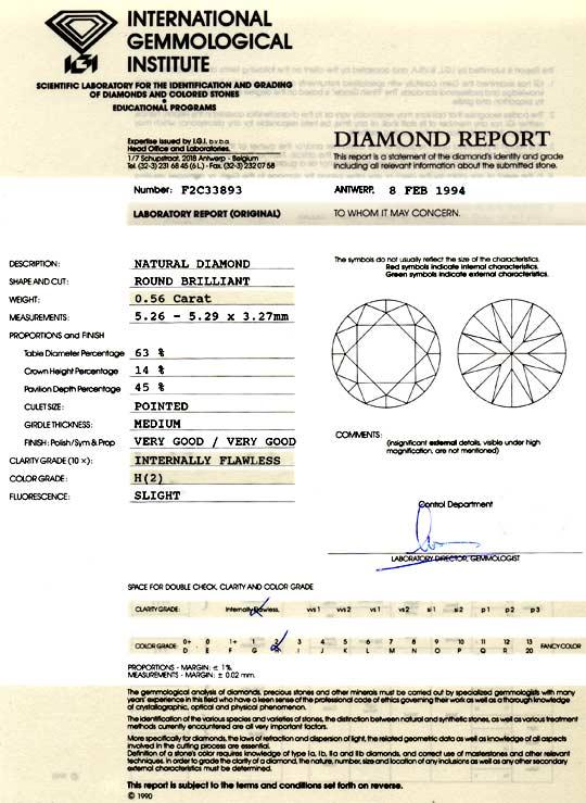 Foto 9, Brilliant 0,56ct Diamant IGI Lupenrein Wesselton Juwel!, D5892