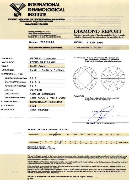 Foto 9, Diamant 0,62ct Brilliant IGI Lupenrein Wesselton Juwel!, D5893