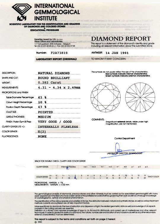 Foto 9, Diamant 0,282ct Brillant IGI Lupenrein Wesselton Juwel!, D5895