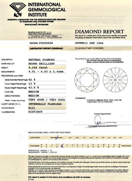 Foto 9, Diamant 0,248ct Brillant IGI Lupenrein Wesselton Juwel!, D5898