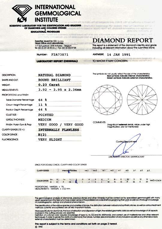 Foto 9, Diamant 0,23ct Brilliant IGI Lupenrein Wesselton Juwel!, D5901