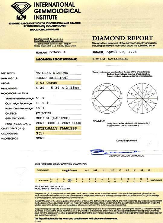 Foto 9, Diamant 0,53ct IGI Lupenrein Top Wesselton VG/VG Juwel!, D5902