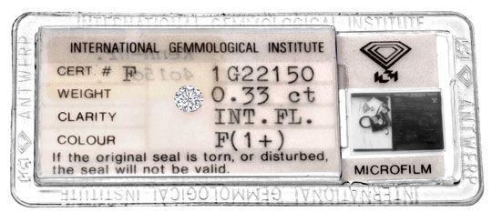Foto 1, Diamant 0,33 ct IGI Lupenrein Top-Wesselton-Plus Juwel!, D5905