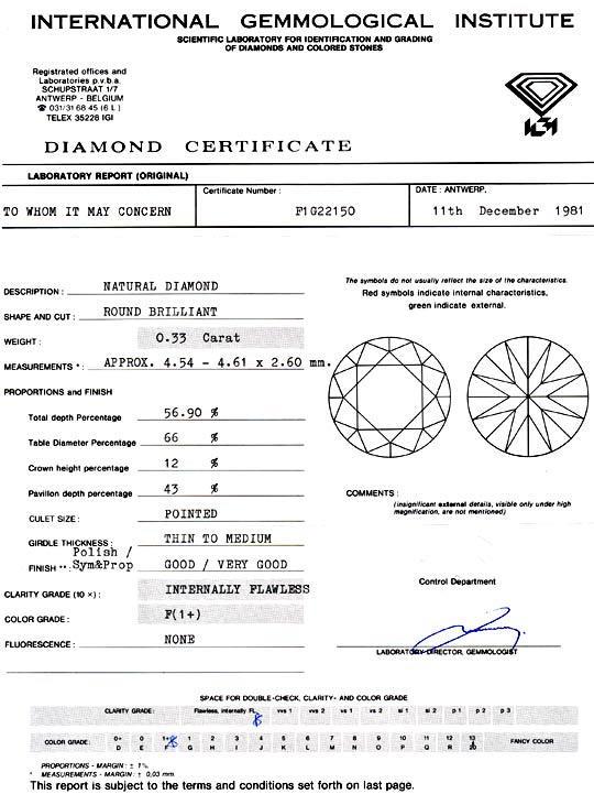 Foto 9, Diamant 0,33 ct IGI Lupenrein Top-Wesselton-Plus Juwel!, D5905