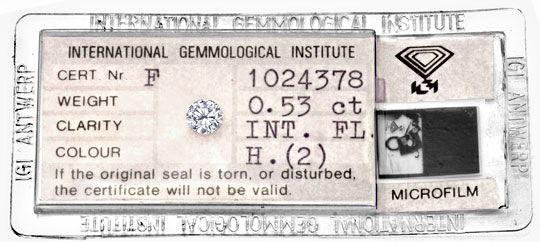 Foto 1, Diamant 0,53 Brilliant Halbkaräter IGI Lupenrein Juwel!, D5923