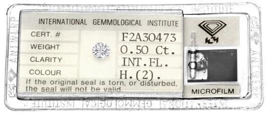 Foto 1, Diamant 0,50ct IGI Lupenrein Wesselton, sehr gut Juwel!, D5926