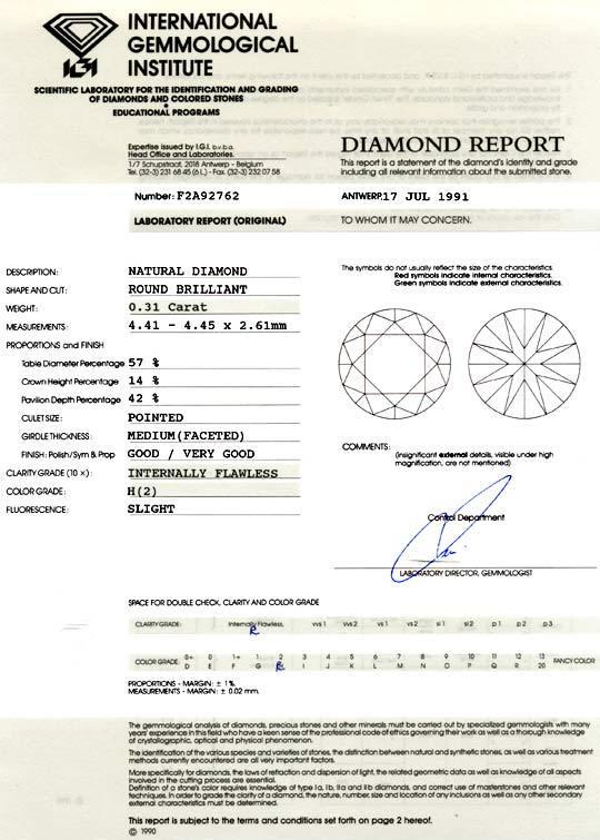 Foto 9, Diamant 0,31ct Brilliant IGI Wesselton Lupenrein Juwel!, D5927