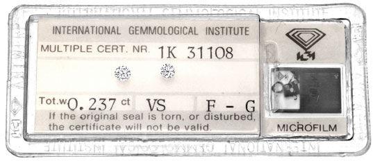 Foto 1, Zwei Diamanten 0,237ct Brillanten IGI, F und G, VS Shop, D5929