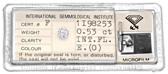 Foto 1, Diamant 0,53ct Brillant IGI Lupenrein River VGVG Juwel!, D5932