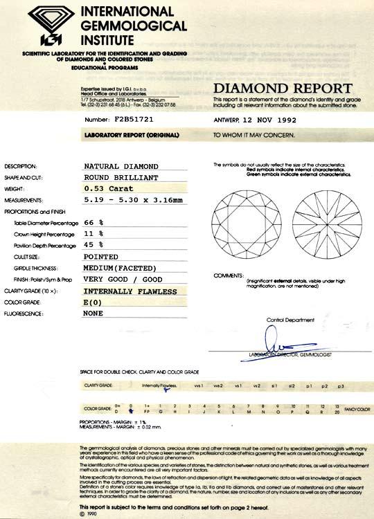 Foto 9, Diamant 0,53 Carat Brilliant IGI Lupenrein River Juwel!, D5933