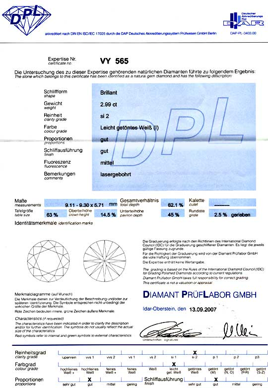 Foto 9, 3 Karäter Diamant mit Super Brillianz DPL I SI2 Diamond, D5935