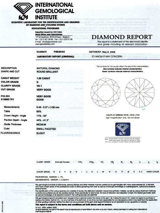 Foto 9, Diamant 1,00 Brillant IGI Expertise River D VS1 Diamond, D5936