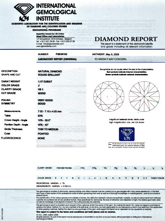 Foto 9, Diamant 1,17 VS1 Crystal Brillant IGI Gutachten Diamond, D5937