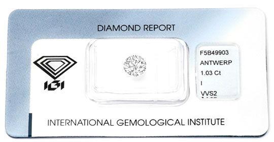 Foto 1, Diamant 1,03 Einkaräter Brillant IGI VVS I VGVG Diamond, D5938