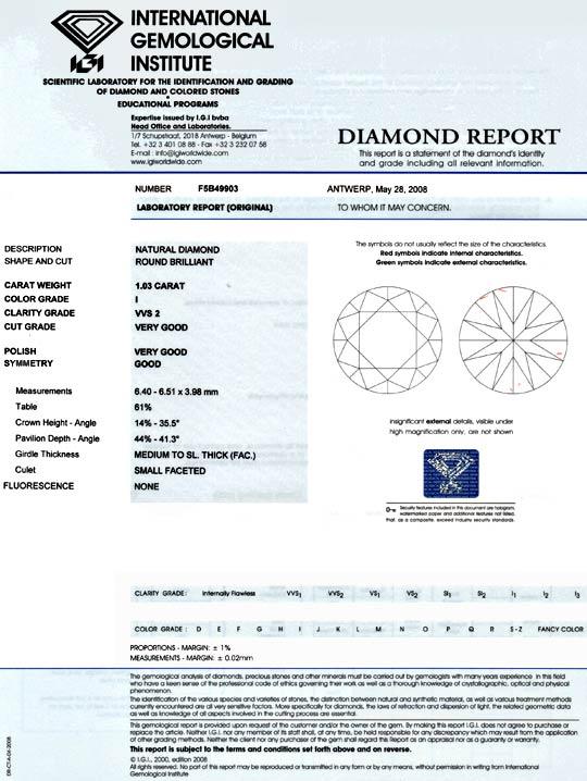 Foto 9, Diamant 1,03 Einkaräter Brillant IGI VVS I VGVG Diamond, D5938