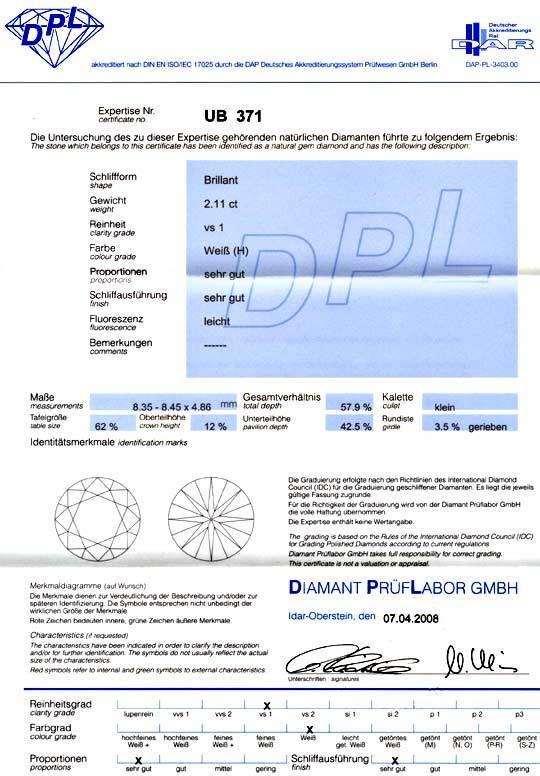 Foto 9, 2,11ct Diamant Brillant DPL Wesselton VS1 VG/VG Diamond, D5939