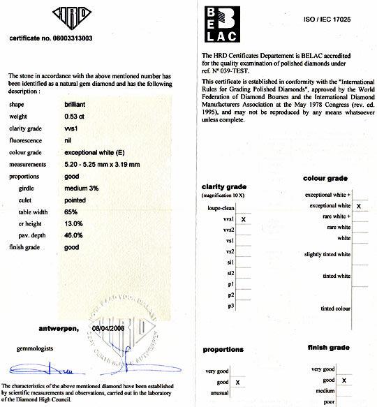Foto 9, Diamant 0,53ct Brilliant HRD Brillant River VVS1 Juwel!, D5944