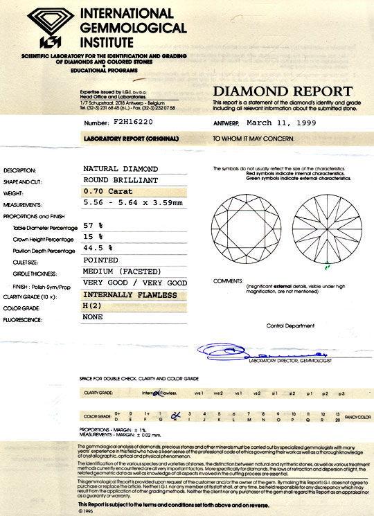 Foto 9, Diamant 0,70ct Brilliant IGI Lupenrein Wesselton Juwel!, D5956