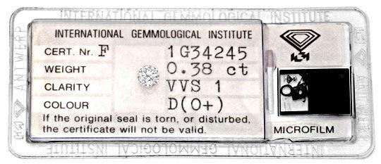 Foto 1, Diamant 0,38Carat River D Brillant IGI Expertise Juwel!, D5959