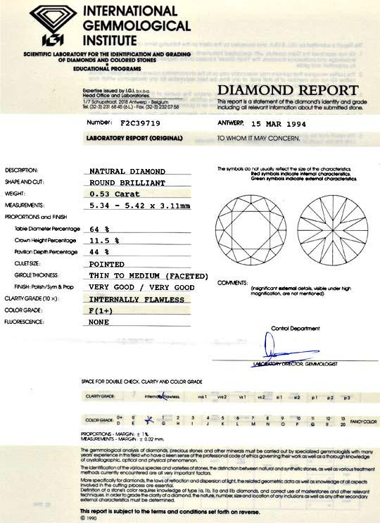 Foto 9, Diamant 0,53 Carat IGI Lupenrein Top Wesselton F Juwel!, D5961