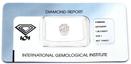 Foto 1, Natural Fancy Light Pink 1ct VVS1 Brilliant IGI Diamond, D5963
