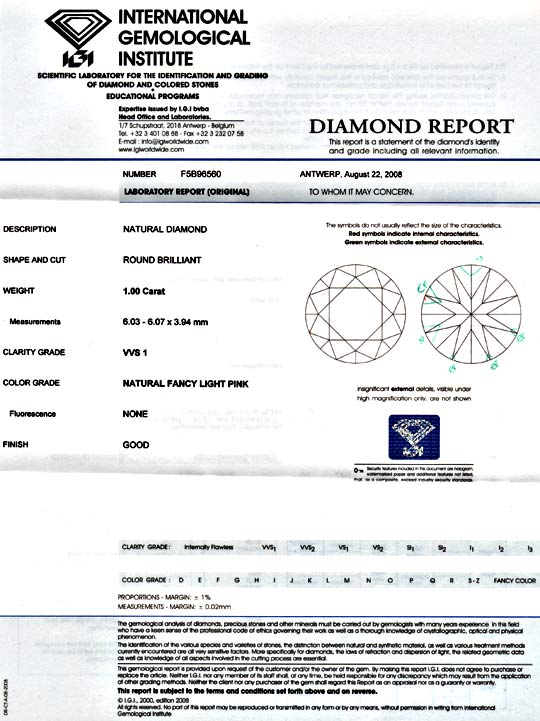 Foto 9, Natural Fancy Light Pink 1ct VVS1 Brilliant IGI Diamond, D5963