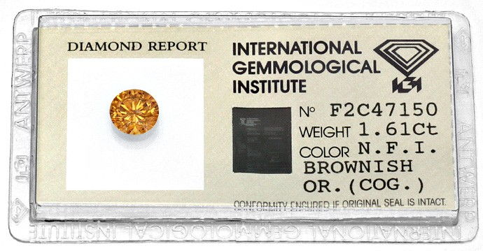 Foto 1, 1,61ct Natural Fancy Intense Brownish Orange Cognac IGI, D5964