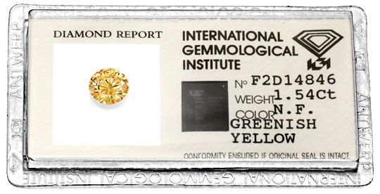 Foto 1, 1,54 Natural Fancy Greenish Yellow Brillant IGI Diamond, D5965