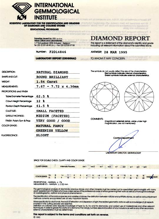 Foto 9, 1,54 Natural Fancy Greenish Yellow Brillant IGI Diamond, D5965