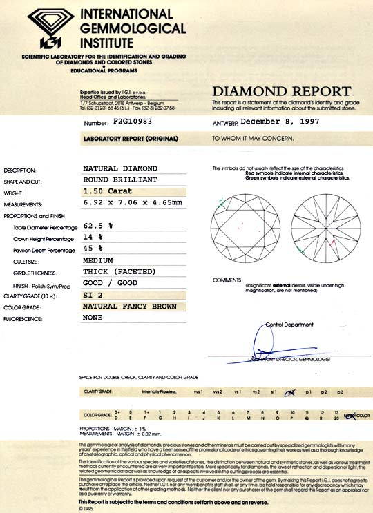 Foto 9, 1,50 Brillant Natural Fancy Brown IGI-Expertise Diamond, D5975