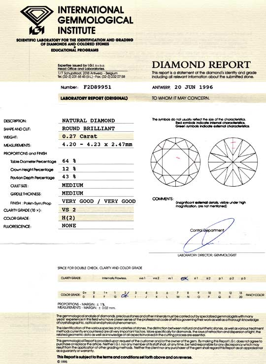 Foto 9, Diamant 0,27ct Brillant IGI Wesselton H VS VG/VG Juwel!, D5977