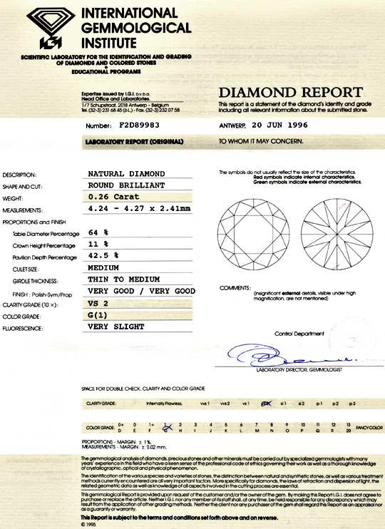 Foto 9, Diamant 0,26 Brillant IGI feines Weiss VS2 VG/VG Juwel!, D5980
