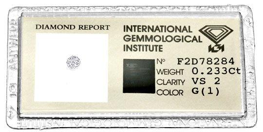 Foto 1, 0,233 Brilliant IGI feines Weiss VS Diamant VG/VG Juwel, D5984
