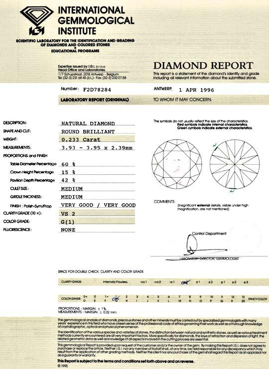 Foto 9, 0,233 Brilliant IGI feines Weiss VS Diamant VG/VG Juwel, D5984