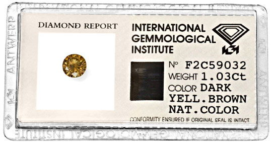 Foto 1, Brillant 1,03ct Natural Dark Yellowish Brown IGI Juwel!, D5985