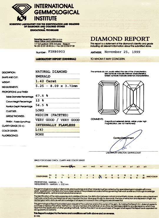 Foto 9, Diamant 1,42ct Lupenrein IGI, Emerald-Cut VG VG Diamond, D5990