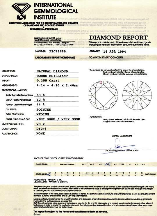 Foto 9, Diamant 0,255ct Brilliant IGI River D VS2, VG VG Juwel!, D5991