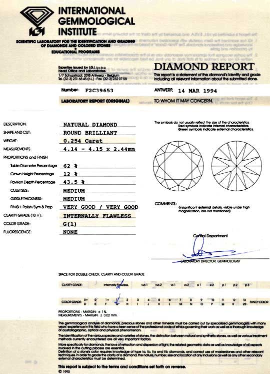 Foto 9, Diamant 0,25 Brilant IGI Lupenrein Top Wesselton Juwel!, D5992
