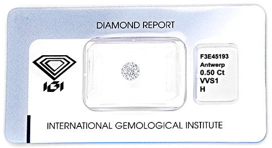 Foto 1, Diamant 0,50 Carat Brilliant IGI Wesselton Weiss H VVS1, D6000