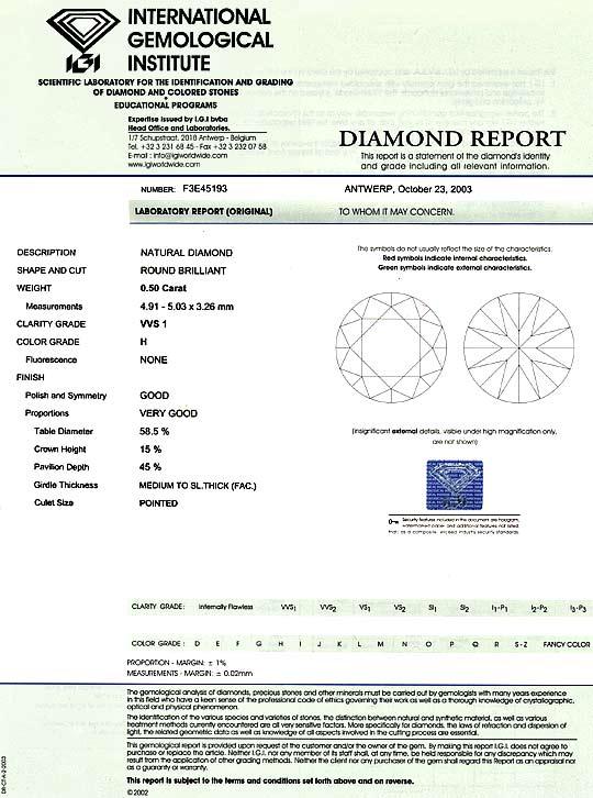 Foto 9, Diamant 0,50 Carat Brilliant IGI Wesselton Weiss H VVS1, D6000