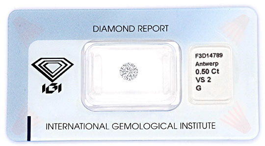 Foto 1, Brillant 0,50 IGI VS2 Top Wesselton Diamant Halbkaräter, D6001