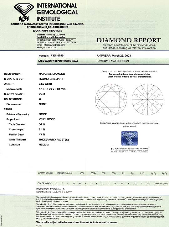 Foto 9, Brillant 0,50 IGI VS2 Top Wesselton Diamant Halbkaräter, D6001