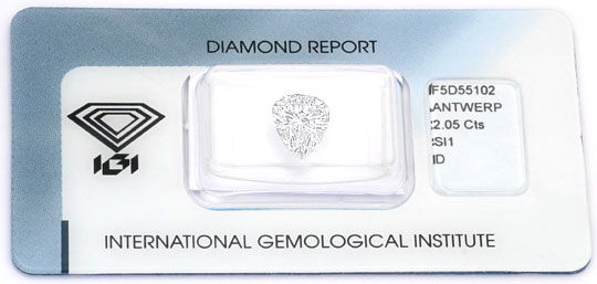 Foto 1 - River D 2,05ct Tropfen Diamant Pear IGI Traum Brillanz!, D6002