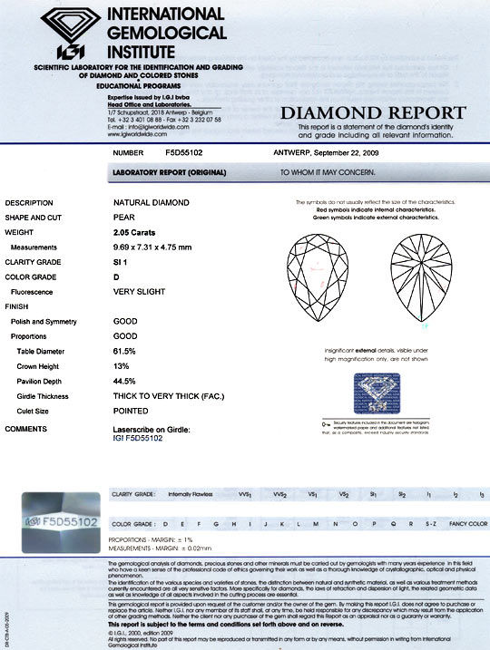 Foto 9, River D 2,05ct Tropfen-Diamant Pear IGI Traum-Brillanz!, D6002