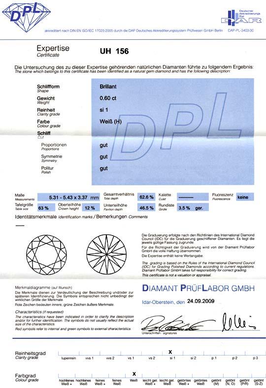 Foto 9, Brillant 0,60 Carat Diamant Wesselton SI1 DPL Brilliant, D6003
